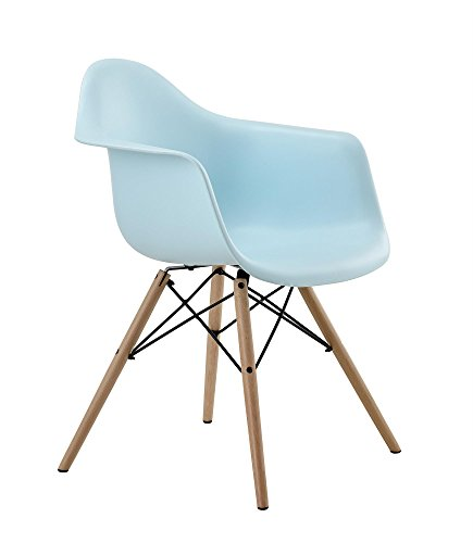 DHP Mid Century Modern Molded Arm Chair with Wood Leg, Blue (Vintage Chair For Desk compare prices)