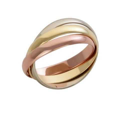 9ct 3mm Yellow, White and Rose Gold Russain Wedding Ring