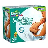 Pampers Swaddlers Sensitive Diapers Size 2 (12-18 Lbs) 152 Diapers
