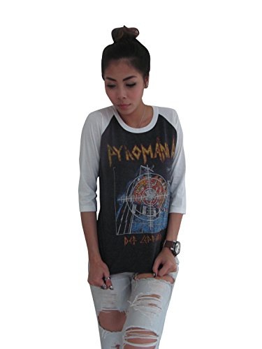 Bunny Brand Women's Def Leppard Pyromania 80's Music Raglan T-Shirt (Large, Gray) (Def Leppard Tickets compare prices)