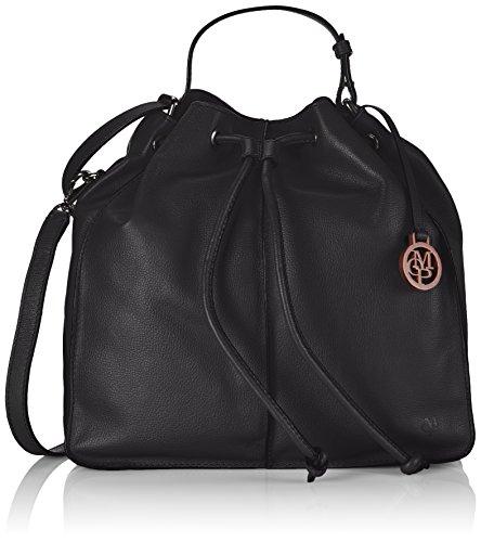 Marc O'Polo DRAWSTRING BAG L, Borsa a tracolla donna, Nero (Nero (black 990)), 34x35x15 cm (B x H x T)