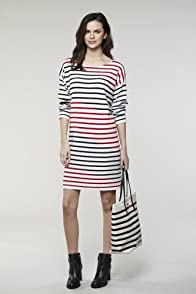 Short Sleeve Diagonal Stripe Knit Dress