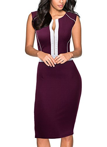 Miusol Women's Formal Scoop Neck Optical Illusion Fitted Bodycon Pencil Dress (Medium, Purple)