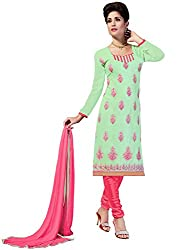 Swapnrang Georgette Light Pista Green Pink Dress Material