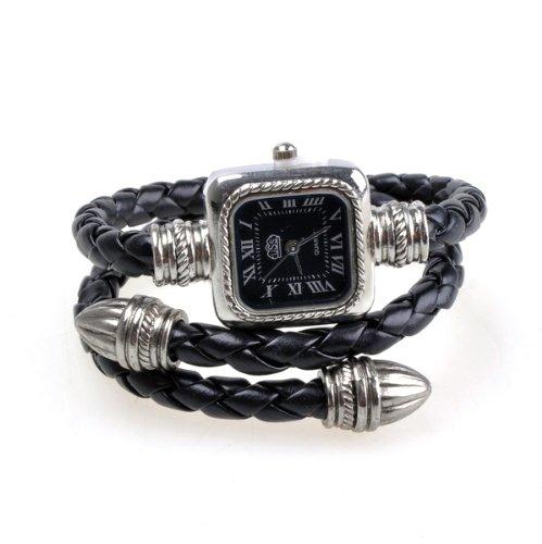 Bestdealusa Black Stylish Knitting Faux Leather Rope Slim Women Bracelet Watch Elegant