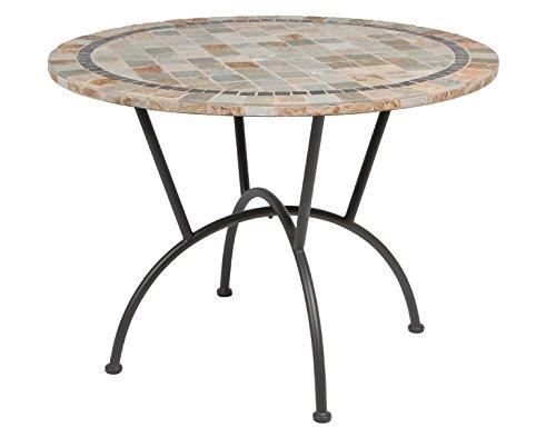 Siena Garden 120083 Tisch Valona, Ø100cm Stahl-Gestell anthrazit Tischplatte Stein Mosaik-Optik