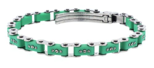 Unisex Designer Stainless Steel Green Bicycle Link Bracelet 7