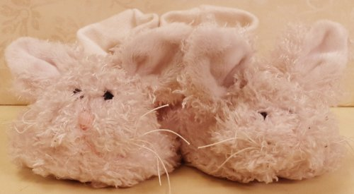 Plush Baby Booties - Little Pink Bunny Rabbit with Bow - Slipper shoes Girl 6- 12 month Bearington