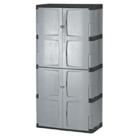 Rubbermaid 72-Inch Four-Shelf Double-Door Resin Storage Cabinet