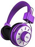 iHip IP-KNOB-PR DJ Style Adjustable Volume Control On Headphone with Mic Purple