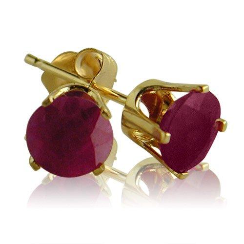14k Yellow Gold Ruby Stud Earrings (5mm)