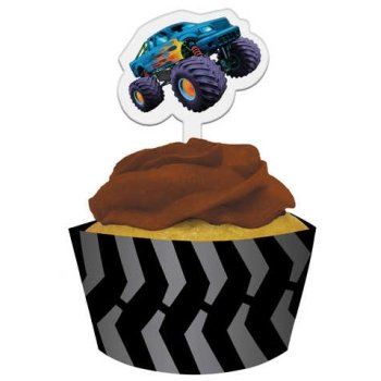 Mudslinger Monster Truck Cupcake Wrappers w/Picks 12 Pack
