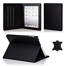 32nd® Premium Leather Folio Case for Apple iPad Pro 9.7 inch (2016), case made from genuine luxury Italian leather - Black