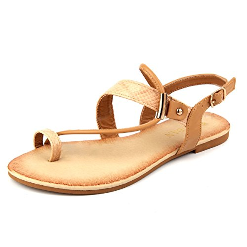 Mu Dan Thong Flat Gladiator Summer Sandals (9 B (M) US, BEIGE)