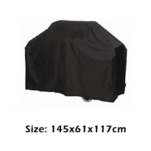 "LEMONBEST Universal Waterproof BBQ Cover Garden Gas Charcoal Electric Barbeque Grill Patio Protector, Medium/57 x 24 x 46"" Black"