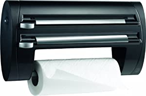 Leifheit Wall Mount Paper Towel Holder with Plastic Wrap, Foil