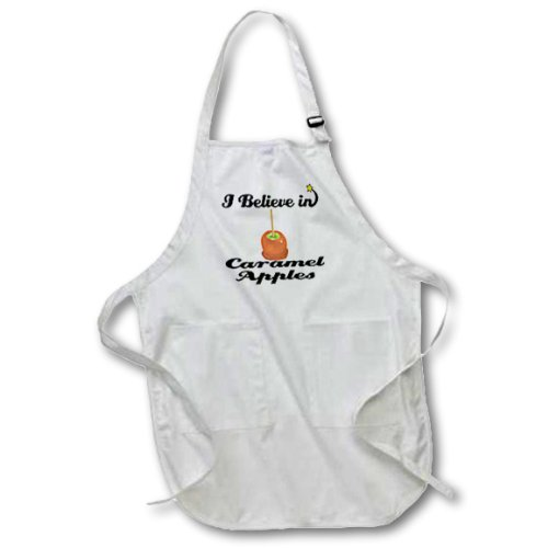 Dooni Designs I Believe In Designs - I Believe In Caramel Apples - BLACK Full Length Apron with Pockets 22w x 30l (apr_104945_4)