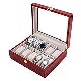#9: Wooden 10 Slots Wrist Watch Storage Box Display Case Organizer with Cherry Finish and Glass Window ( 26cm X 12cm X9cm) by Kurtzy