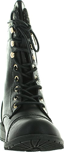 Forever Link Womens Mango-31 Round Toe Military Lace Up Knitted Ankle Cuff Low Heel Combat Boots,Black,5.5