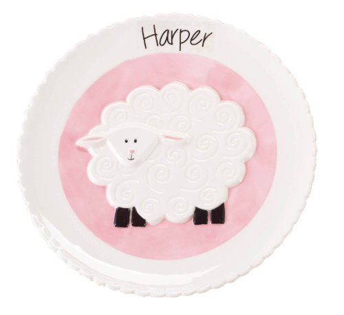 Mud Pie Lamb Plate, Pink