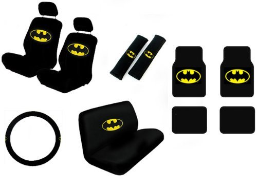 15 Piece Auto Interior Gift Set - Batman Classic Logo - 2 Front Seat Covers (2 Front and 2 Bottom), 2 Headrest Covers, 2 Seat Belt Shoulder Pads, 1 Steering Wheel Cover, 1 Bench Seat Cover (1 Top and 1 Bottom), 4 Floor Mats (2 Front and 2 Rear)