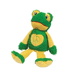 Zanies Moppy Peace Party Dog Toy, Frog, 11-Inch