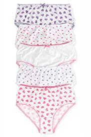 5 Pack Pure Cotton Heart Print Briefs