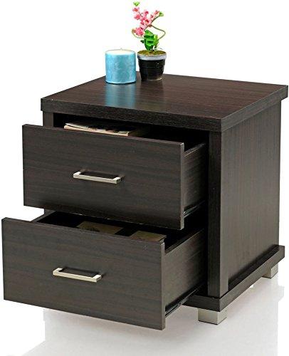 Royal Oak Berlin Bedside Table with 2 Drawers (Dark Brown)