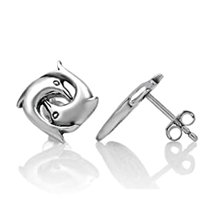 Sterling Silver Polished Childrens Small CZ Peace Symbol Post Earrings Length 9mm
