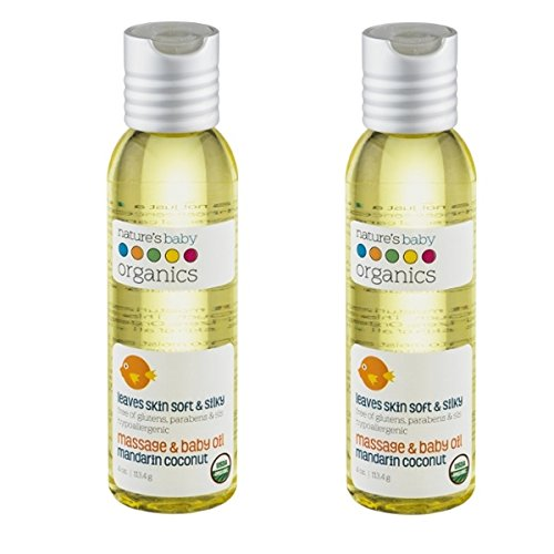 Nature's Baby Organics Organic Baby Oil, Mandarin Coconut,  4-Ounce Bottles (Pack of 2) - 1