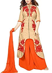 Angroop Women's Cotton Semi-Stitched Dress Material (WA0028_Free Size_Beige)