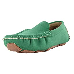 Maxu Kid Suede Green Slip-On Unisex Child Oxford & Loafer,Toddler,9.5M US