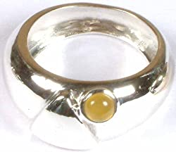 Exotic India Yellow Chalcedony Ring - Sterling Silver Ring Size 6.
