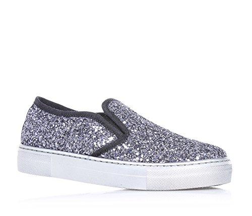 FLORENS - Slip-on argentata in glitter, con inserti laterali elasticizzati, cuciture a vista e suola in gomma, Bambina, Ragazza, Donna-34