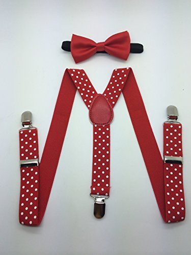 Boys Girls Child Bow Tie Suspender (RED BOW) - 1