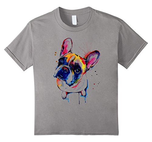 Kids Rainbow French Bulldog  Lover Dog gift for Women  T-Shirt 12 Slate (Bulldog Shirts For Kids compare prices)