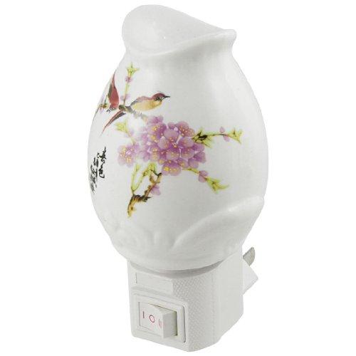 Us Plug Ac 110V 7W Vase Shaped Warm White Light Ceramic Night Lamp