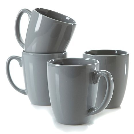 Corelle for Joy Strokes of Color Premier 4-piece Set of Mugs Platinum Silver