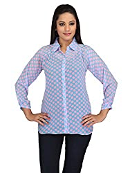 lol blue Color Polka Dot Casual Top for women