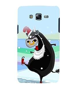 printtech Crazy Cartoon Cow Back Case Cover for Samsung Galaxy E7 / Samsung Galaxy E7 E700F