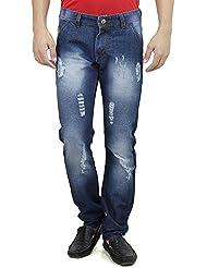 Mens Slim Fit Blue Distressed Denim Jeans For Men With Elegant Embroidery Siz...