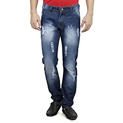Mens Slim Fit Blue Distressed Denim Jeans For Men With Elegant Embroidery Siz...