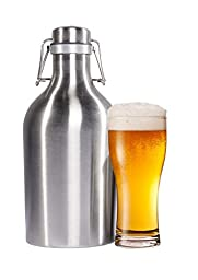 Beer Growler 64 oz - 2L Stainless Steel Growler with Secure Swing Top Lid for Freshness - Best for Craft Beer and IPAs - Food Safe - Plastic Free All Metal