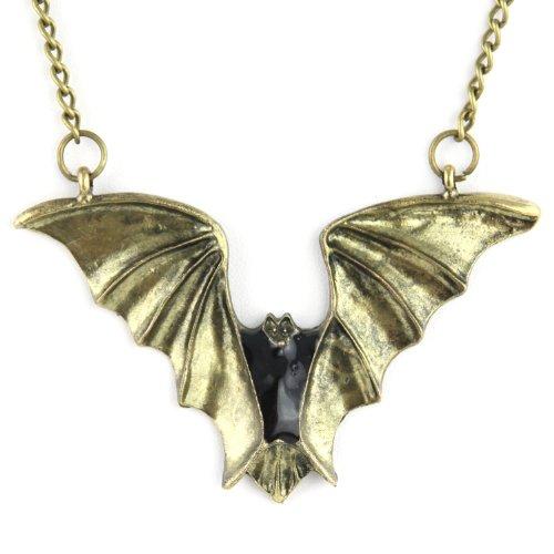 Blackalicious Bat Pendant - Long Chain Link - Brass Necklace
