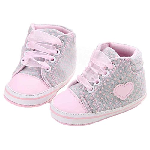Amiley Baby Girl Toddler Canvas Shoes Sneaker Anti-slip High Top Prewalker (Size 12 (US:3---6~12Month), Gray)
