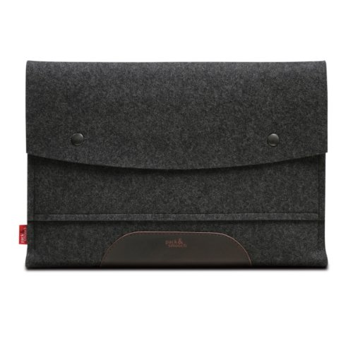 "MacBook Air 13"" sleeve HAMPSHIRE Anthracite/Dark brown - 100 % Merino woolfelt and pure vegetable tanned leather - Made in Germany, Hamburg"