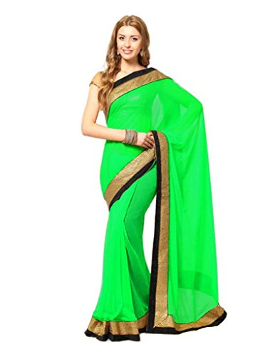 Yogalz Green Color Chiffon Sari Daily Wear Party Wear Saree