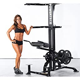 Powertec Fitness Levergym Chin/Dip Assist Plus, Black