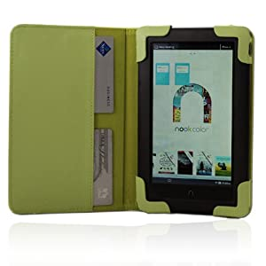 iPearl mCover Leather Cover Case for Barnes & Noble 7-inch Color Touchscreen Nook Color / Nook Tablet - GREEN
