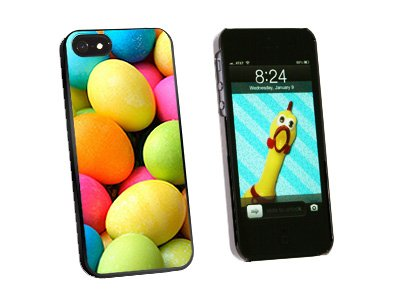 Colored Easter Eggs - Snap On Hard Protective Case for Apple iPhone 5 5S - Black